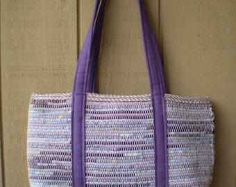 Large Handwoven Market Bag/ Purple Straps