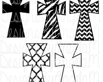Cross with patterns Chevron Zebra Quarterfoil   SVG Digital cutting file  Instant Download - Use on your cutting machine Dxf Png Eps Svg