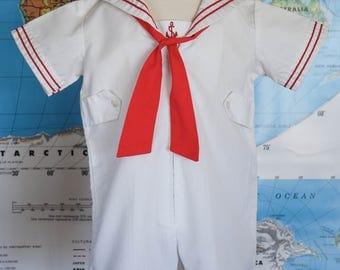 Vintage Sailor Romper / Vintage Toddler Sailor Romper / White Sailor Suit / Red Sailor Suit / 1960's Boys Sailor Suit / Size 3T / Size 4T