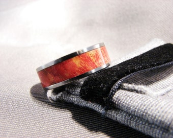 Red Ash Burl Inlay and Titanium Ring, Dyed and Stabilized Ash Burl in Red,Burl inlay ring,
