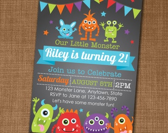 Monster Invitation - Monster Birthday Invitation - Monster Birthday - Monster Party - Monster Party Invite - Edit yourself at home!