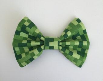 Minecraft Inspired Hair Bow-handmade bows-toddler bow-fabric hair bow-girls bows-cotton hair bows-baby girl bows