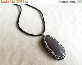 ON SALE 50% 1 Piece Grey Chalcedony Pendant Connector, Crystal Rhinestone Pave, Gemstone Connector, Single Loop 2 x 1 Inches, SKU-Tc32