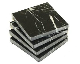 Square Nero Marquina Black Marble Stone Coasters