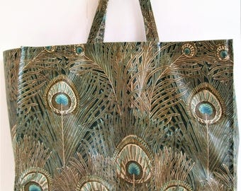 Vintage LIBERTY Hera Shoulder Bag. Liberty of London Waxed Tote Bag. Peacock Feather Design Bag. Liberty  Oil Cloth Bag.  Liberty Peacock.
