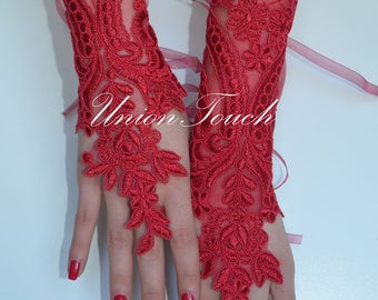Burgundy gloves fingerless glove bridal glove bridesmaid Burgundy lace gloves elegant gloves, gloves, red gloves