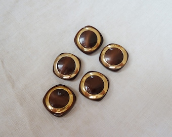 5 vintage buttons, dark brown with gold, rectangular buttons with flat bar,