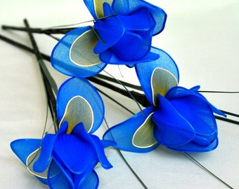 long iris-set of 3 individual stems,handmade blue iris,handmade iris,unique iris,nylon flowers,Dutch iris,spring flowers,Mother's day,Easter