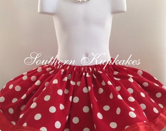 Red and White Polka Dot DISNEY MINNIe Inspired Custom Costume Full Twirl Skirt Dress Up Trip Party Birthday Pageant Wear All Sizes