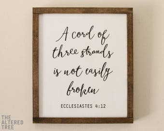A Cord of Three Strands Sign   A Cord of 3 Strands   Wedding Ceremony Braid Sign   Scripture Wall Art Christian Art Wall Decor Wedding Gifts