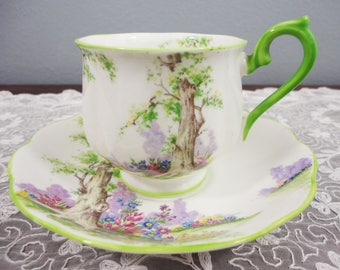 "Royal Albert ""Greenwood Tree"" Tree Scenery English Bone China Teacup and Saucer - Hampton Shape"