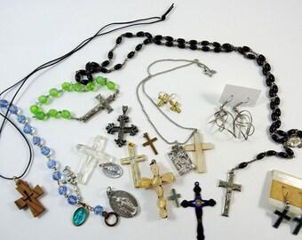Vintage Religious Jewelry Lot Rosary Earrings Cross Necklace Bracelet Pendant