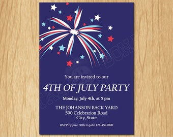 4th of July Independence Day Printable Invitation, Red White and Blue 4th of July Patriotic Party Invite, Fireworks, Digital File PI005