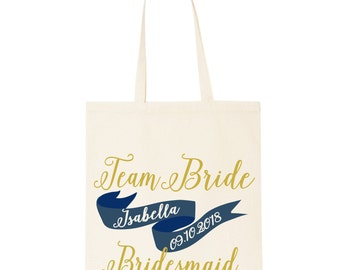 Wedding day bridesmaid cotton tote gift bag. Personalised hen party keepsake gift. Custom shopper tote bag.