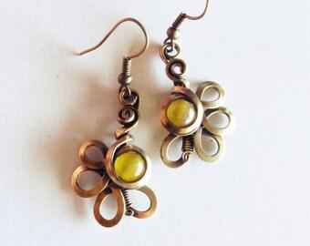 Flowers - yellow - aged brass earrings