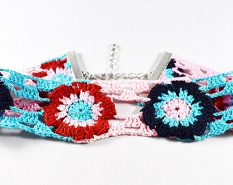 FLOWER CROCHET CHOKER, Choker Necklace, Crochet Choker Necklace, Summer Beach Choker, Colorful Choker, Flower Choker