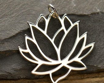 "Yoga Jewelry Large Lotus Flower Spiritual Necklace Pendant 925 Sterling Silver 16"" 18"" 20"" Chain 477"