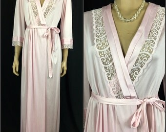 Vintage 1960s Pink Nylon Robe 60s Gilead Full Length Robe Womens Small Three Quarter Sleeves Lace Trim Feminine Pinup Hollywood Glamour