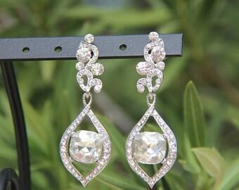 clear rhinestone earrings, clear rhinestone prom earrings, clear rhinestone pageant earrings, bridal earrings