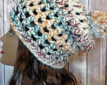 Crochet Women's Slouchy Beanie with PomPom