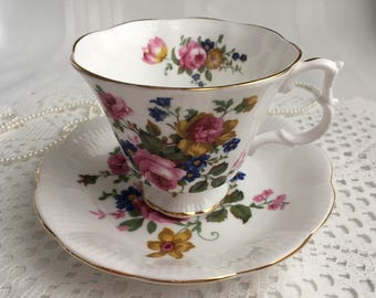 Reserved Royal Albert Bone China Tea Cup and Saucer, Pretty Pink Roses and Colourful Floral with Gold Trim