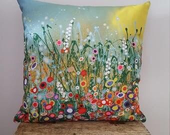 Flower Cushion. Flower Pillow. Flora Cushion. Bright & Beautiful Art Print Cushion. Size - 18 x 18 inches. Homeware