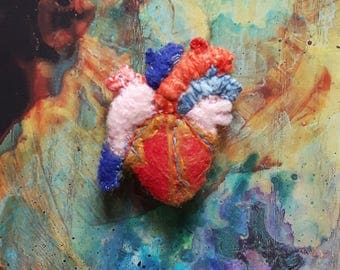 Felt Anatomic Heart Brooch