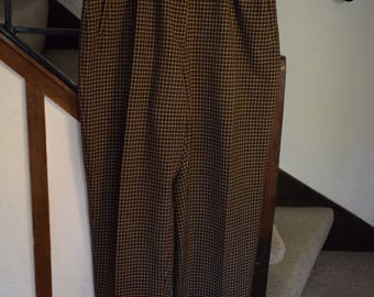 Vintage French burgundy check print trousers