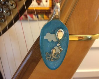 Flying octopus and balloon resin spoon pendant