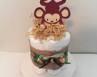 Monkey Diaper Cake, Mini Diaper Cakes, Baby Shower Centerpiece, Baby Shower Decoration