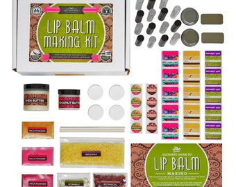 DIY Lip Balm Kit- Deluxe, (77-Piece Set) , with FILLING TRAY  | Includes Tubes, Beeswax Pouch, Essential Oils, Labels + more