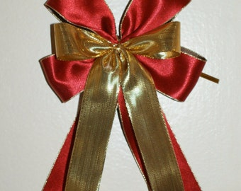 5 large satin bows-double sided satin ribbon-duo colour red /brown,gold lurex ribbon-wedding,birthday,gift,present wrap,christmas-handmade