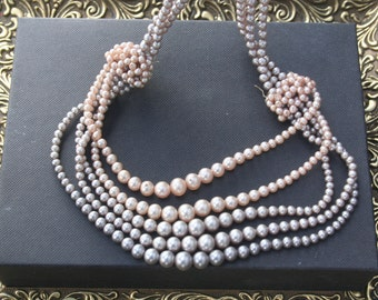 Pearl necklace, multi strand pearls, faux pearls, creamy pearls, vintage necklace, vintage  Wedding, Vintage pearl necklace, Bridal,