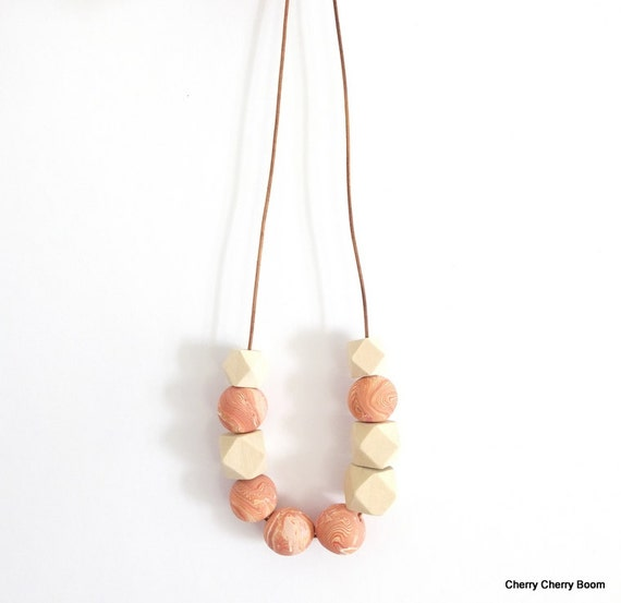 Geometric necklace, necklace, jewellery, geometric, gift for her, polymer clay, wood, bib necklace, wooden beads, handmade, one of a kind