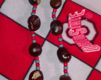New 12 ct buckeye necklace w/ more beads   #001
