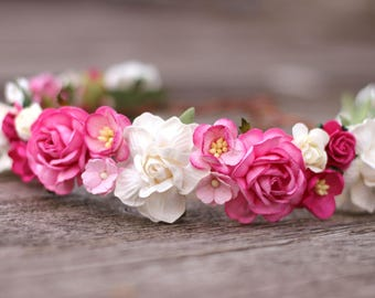 Pink Floral Crown, Flower Crown, Flower Girl Halo, Blush Flower Crown, Wedding Hair Crown, Birthday Flower Crown Maternity Crown Photo Prop