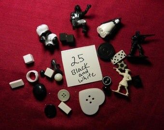 25 Small Black and White Objects Findings Figures Animals Shapes for Assemblage Mixed Media MORE
