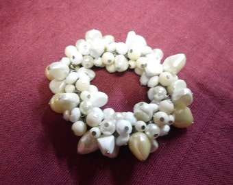 Stretch Bracelet Covered with Vintage White and Pearl Beads Varied Sizes and Shapes