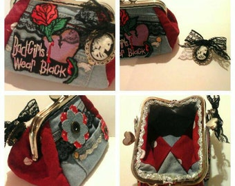 Handcrafted gothic quilted coin purse with a removeable brooch to wear. Denim, canvas and lace.