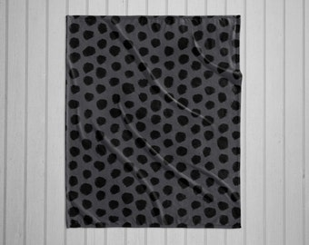 Black and Grey dalmatian spot pattern modern plush throw blanket with white back