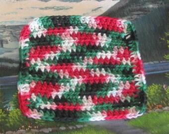 Hand crochet cotton dish cloth 6.5 by 6.5 CDC 073