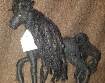 Needle Felted OOAK Black Horse