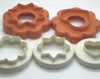 Vintage Tupperware  Cookie Cutters Set  Orange  White Nesting Stacking Star Heart Round  Christmas Valentine Sugar Cookies Play Dough Paper