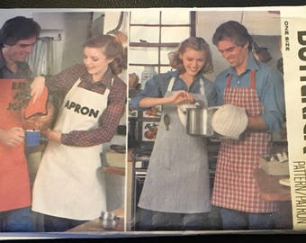 Butterick 6150 Quick Sewing Pattern Apron Mitt Potholders Iron On Transfers Back Wrapped his Hers BBQ Cookout Holiday  New Uncut