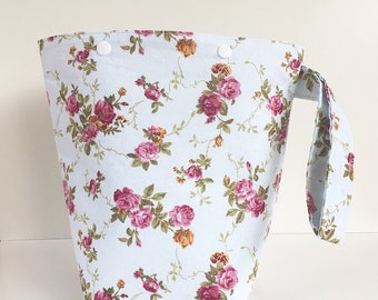 Vintage Roses 2 Skein Size Snap Project Bag with matching  Handle for Knitters / Crafters Travels