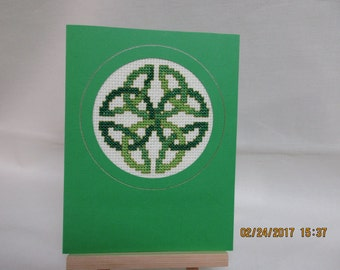 St. Patrick's Day Card Cross Stitched