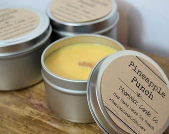 Pineapple  Punch Soy Candle   8oz Tin   Summer Scented Candle   Pineapple Candle   Fruity Scent   Strong Candle   Wood Wick!