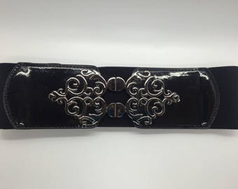 Ladies Black Elasticated Waist Belt - Clip On Buckle - 5 SIZES