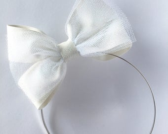 Off white glitter bow, tulle bow hard metal headband with rubber tips
