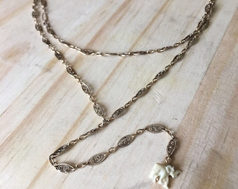 Vintage Ivory Elephant and Brass Chain Lariat Necklace